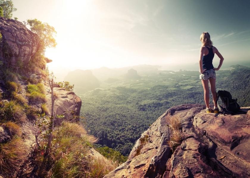 woman hiking aka jump